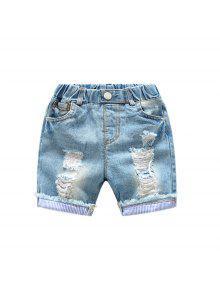 Elástico Cintura Agujero Niños Pantalones Cortos De Mezclilla Verano Pantalones De Bebé Pantalones Verano Nuevos Niños Niños Cinco Pantalones - Lapis 100