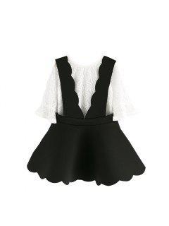 Deux Enfants Avec Costume Noir Et Blanc Petites Filles En Corne Coréenne Manches Creuses Enfants Jarretelles Jupe été - Noir 100