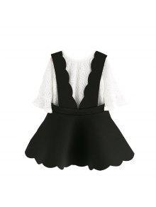 Dos Niños Con Traje Blanco Y Negro Chicas Pequeñas En Cuerno Coreano Mangas Huecas Niños Tirantes Falda Verano - Negro 100