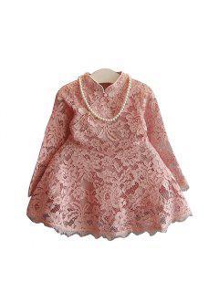 Vestido De Encaje Para Niñas Childrens Wear2017 Primavera Y Otoño Seasonnew Children Falda De Hueco Princesa Trompeta, Manga Babysweet Falda - Papaya 130