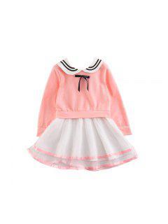 2017 Enfants Vêtements Filles Robe Jupe Version Coréenne De La Nouvelle Robe À Manches Longues Coton Enfants Princesse - Papaye 90