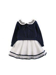 2017 Enfants Vêtements Filles Robe Jupe Version Coréenne De La Nouvelle Robe À Manches Longues Coton Enfants Princesse - Bleuet 100