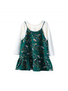 Camiseta De Manga Larga En Color Liso Y Vestido Foral - Helecho 100