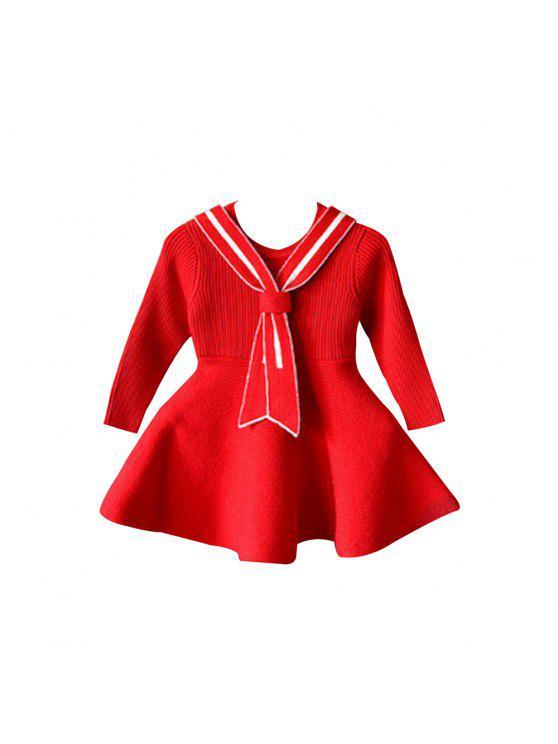 2017 New Children Dress Girls College Wind Dress Korean Fashion Tide Baby  Girl Knit Sweater Dress - Flame 130 a369e9675