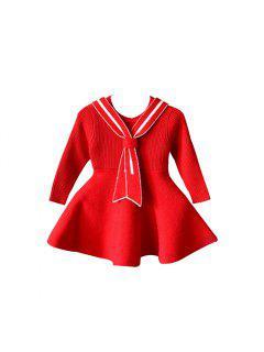 2017 Nouveau Enfants Robe Filles Collège Vent Robe Coréenne De Mode Marée Bébé Fille Tricot Robe Pull - Flamme 100