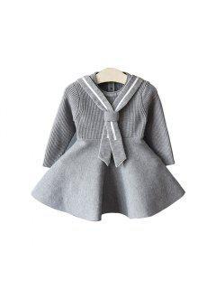 2017 Nouveau Enfants Robe Filles Collège Vent Robe Coréenne De Mode Marée Bébé Fille Tricot Robe Pull - Huître 100