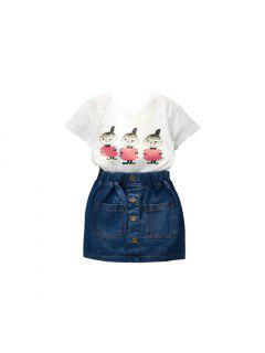 2017 Summer Edition Childrens Wear Girls Pure Algodón De Manga Corta Camiseta Genuine Jeans Falda Set Infantil Traje - Nieve Blanca 110