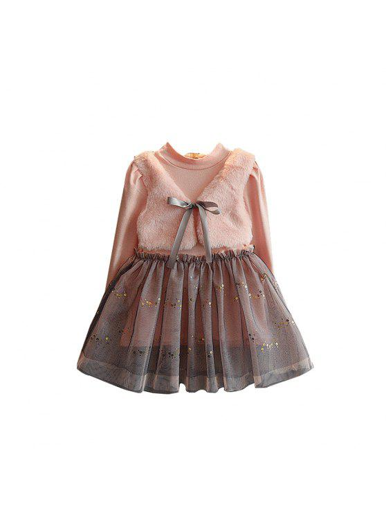 best Girl Princess Dress 2017 Autumn Edition Baby Long Sleeve Pink Dress Girl Autumn And Winter Dress - PINK 90