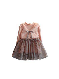 Mädchen Prinzessin Kleid 2017 Herbst Edition Baby Langarm Rosa Kleid Mädchen Herbst Und Winter Kleid - Pink 90