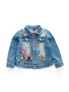 2017 Autumn New Childrens Clothing Girls Baby Butterfly Embroidered Denim Jacket Childrens Lapel Long Sleeved Coat - Cornflower 90