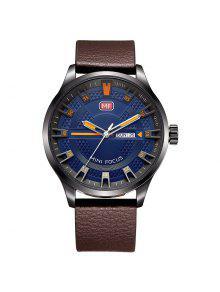 MINI FOCO Mf0028G 4289 Reloj De Hombres De La Exhibición Del Calendario De La Manera - Marrón + Azul