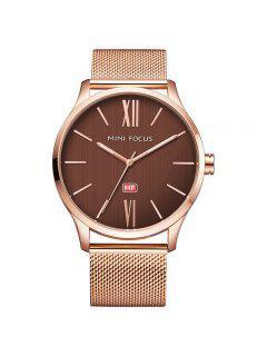 MINI FOCUS Mf0018G 4316 Montre Masculin Bracelet En Acier à La Mode - Or Rose