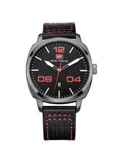 MINI FOCUS Mf0013G 4321 Fecha De Visualización Hombres Reloj - Rojo