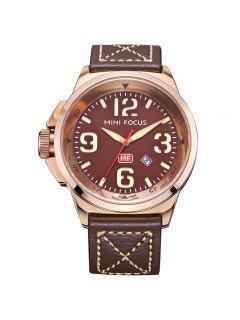 MINI FOCUS Mf0004G 4373 Reloj Para Hombre De La Exhibición Del Calendario - Café