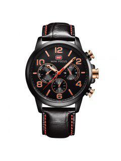 MINI FOCUS Mf0001G-05 4375 Reloj Para Hombres Con Decoración De Esfera De Negocios - Negro
