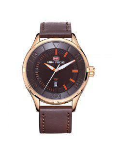 MINI FOCUS Mf0008G 4370 Exclusivo Reloj De Diseño De Color De Los Hombres - Café
