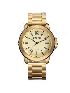 Skone 7424G 1098 Reloj Casual De Hombre De Banda De Acero - Dorado