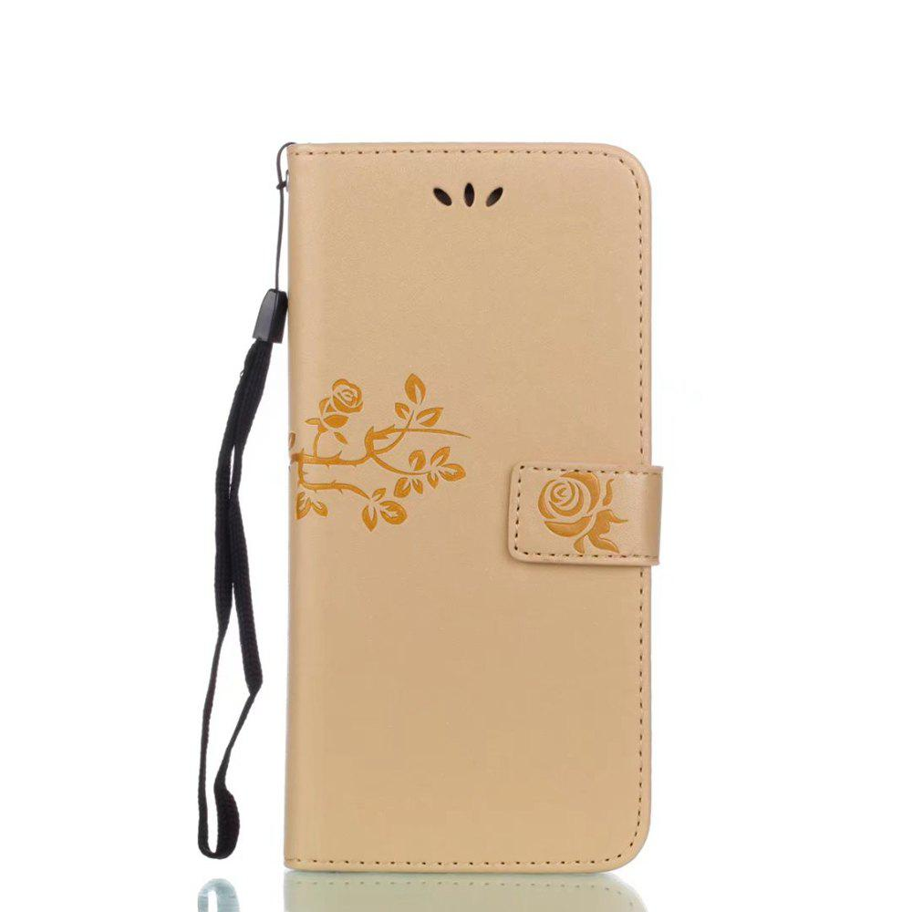 Wkae Double side Embossing Rose Flower Synthetic Leather Wallet Case Soft Silicone Back Cover with Flip Kickstand and Lanyard for Samsung Galaxy S8 Plus 230188703