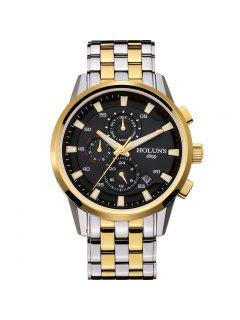 HOLUNS 3053 4607 Reloj Automático Mecánico Para Hombre De Banda De Acero - Negro Y Dorado