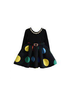 2017 Korean Girls Wear Polka Dot Dress Belt Western Style Black Stitching Dress Children Autumn Tide - Black 90