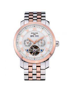HOLUNS 4612 Montre D'affaires Mécanique Bracelet En Acier Pour Hommes - Blanc Et Rose Or