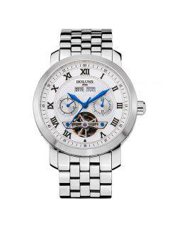 HOLUNS 4612 Reloj Mecánico De Acero De La Venda Del Acero De Los Hombres - Azul Y Blanco
