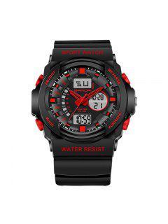 Sanda 241 5297 LED Luminosa Cuarzo Movimiento Hombre Reloj - Rojo