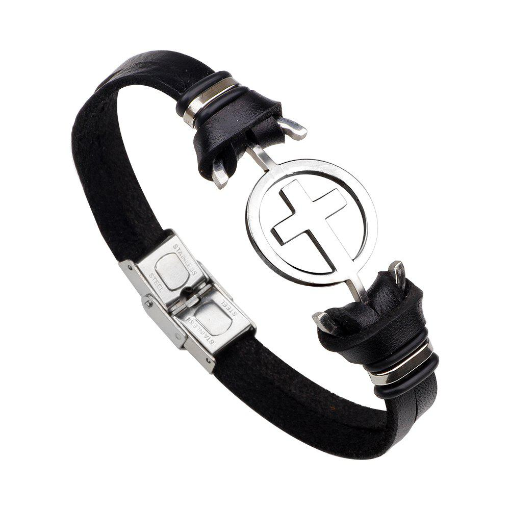 Stainless Steel Bracelet with Cross Magnetic Buckle Leather Bracelet
