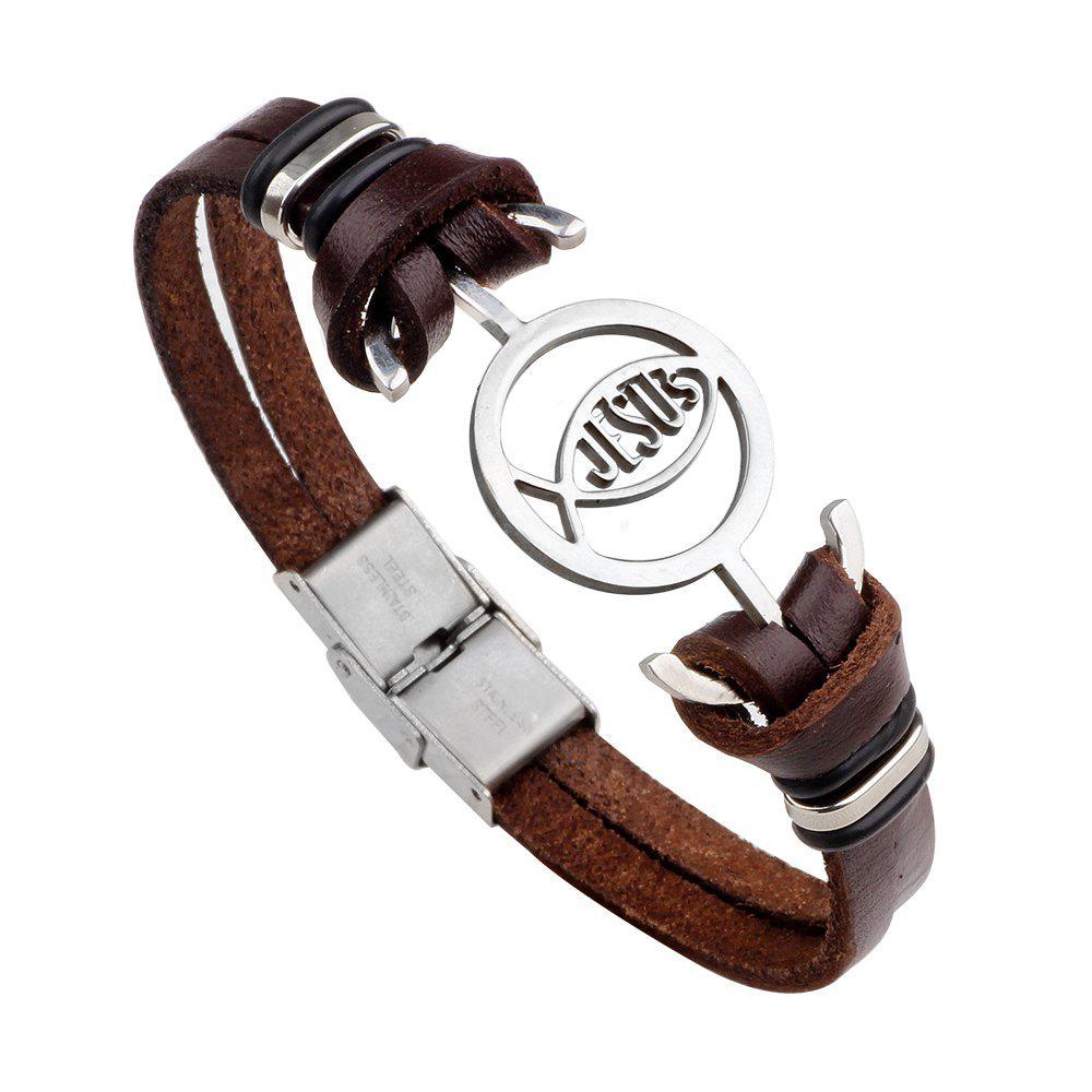 Jesus Stainless Steel Bracelet Buckles Leather Hand  Bracelet