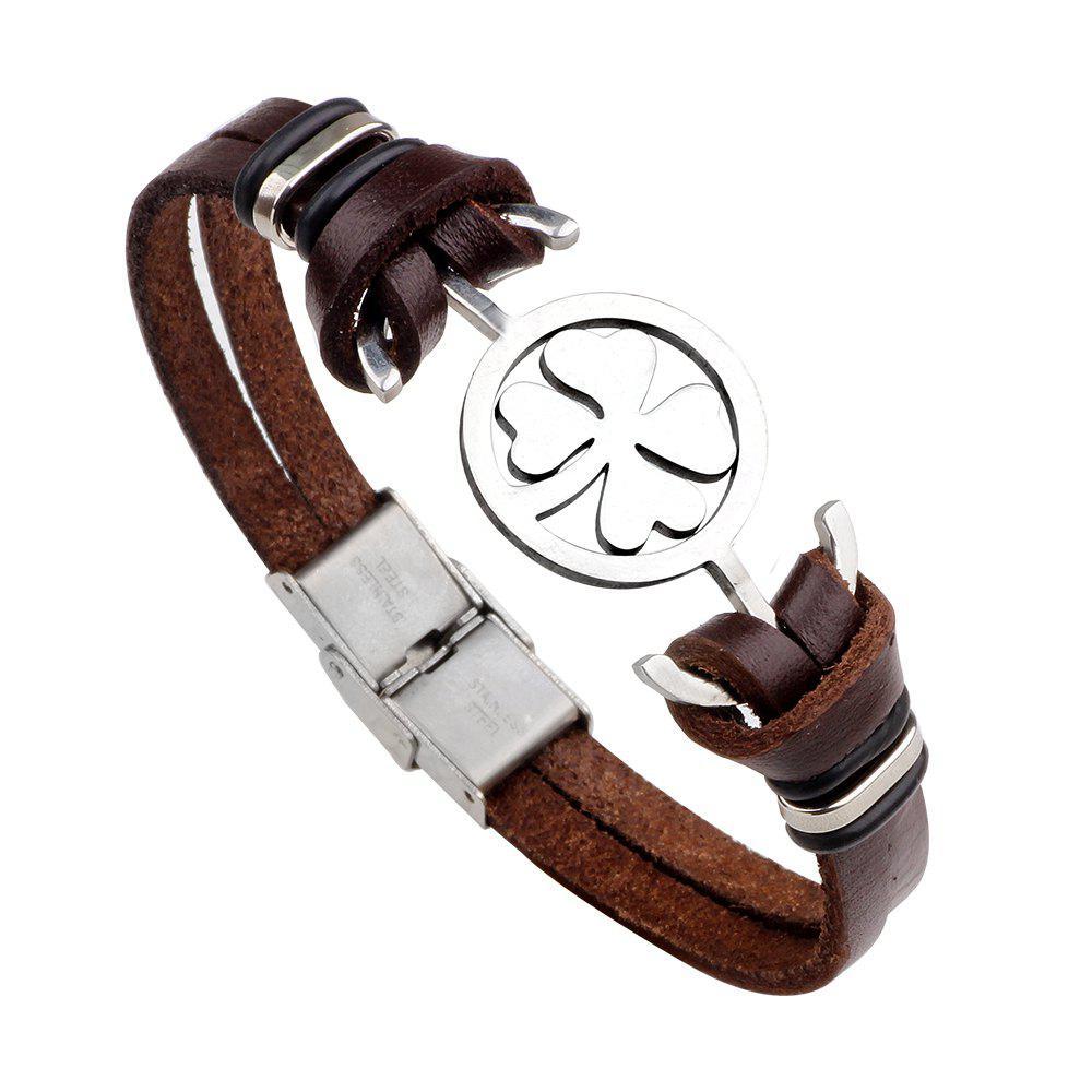 Four Leaf Clover Bracelet Cowhide Stainless Steel Bracelet