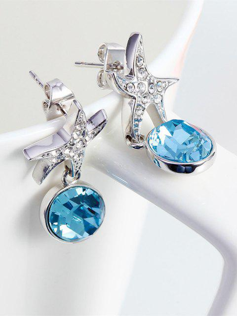 latest Ouxi Sterling Silver Blue Crystal Starfish Earrings for Girls And Womens - SILVER AND BLUE  Mobile