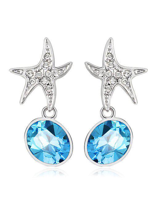 Ouxi Excelente Azul Plateado Estrella del Mar de Cristal Pendientes para Niñas y Mujeres - Plata y Azul  Mobile