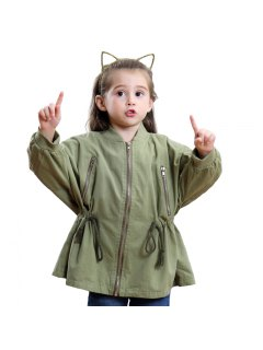 Girls' Winter Fashion Cotton Long Sleeved Windbreaker Coat - Armygreen 80