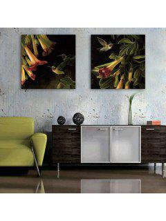 Yc Special Design Frameless Paintings Flowers And Birds Of 2 - Black And Orange 24 X 24 Inch (60cm X 60cm)