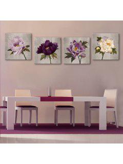 Yc Special Design Frameless Paintings Peony - White + Purple 24 X 24 Inch (60cm X 60cm)