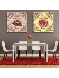 Yc Special Design Frameless Paintings Cake Of 2 - Pink+yellow+red 24 X 24 Inch (60cm X 60cm)