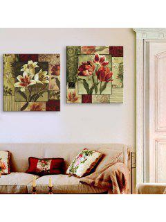 Yc Special Design Frameless Paintings Lilium Of 2 - Red/cadetblue 24 X 24 Inch (60cm X 60cm)