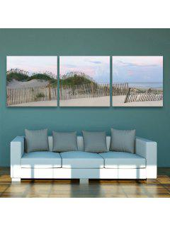 Yc Special Design Frameless Paintings Silver Coast Of 3 - Silver And Blue 24 X 24 Inch (60cm X 60cm)