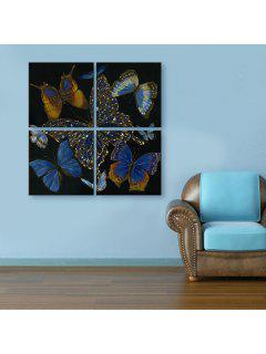 Yc Special Design Frameless Paintings Butterfly Of 4 - Black And White And Purple 24 X 24 Inch (60cm X 60cm)
