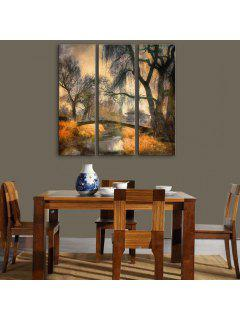 Yc Special Design Frameless Paintings Bridges Of 3 - Black And Brown 12 X 35 Inch (30cm X 90cm)