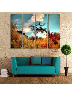 Yc Special Design Frameless Paintings A Dead Tree Of 4 - Blue And Brown 12 X 35 Inch (30cm X 90cm)