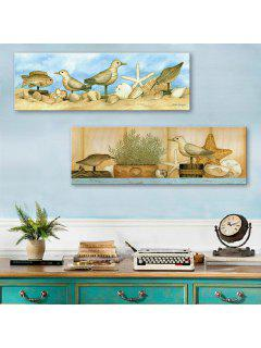 Yc Special Design Frameless Paintings The Dove And The Sea Of 2 - Brown + Blue 12 X 35 Inch (30cm X 90cm)