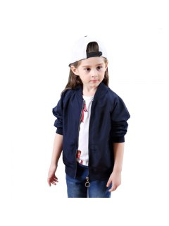 Girls Autumn Style Long Sleeved Jacket Frog Pattern - Deep Blue 80