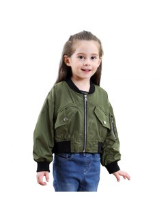 Girls Autumn Alphabet Long Sleeve Coat - Army Green 80