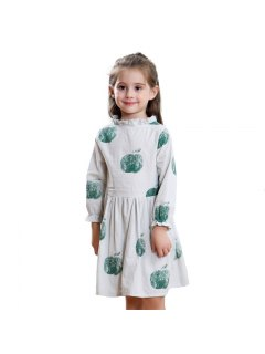 Girls Long Sleeve Apple Print Pure Cotton Dress - Green 100