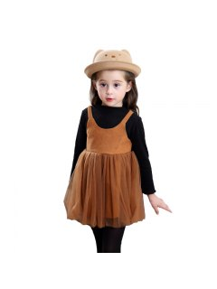 Girls Autumn Style Long Sleeve Fake Two Dresses - Brown 100