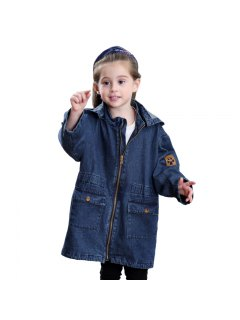 Girls Winter Fashion Jeans Long Sleeved Coat Removable Cap - Denim Blue 80