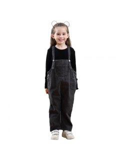 Girls United States And Europe Style Sleeveless Denim Pants - Dark Gray 130