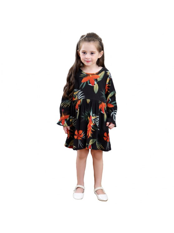 chic Girls Autumn Long Sleeve Cotton Print Dress Princess Skirt - BLACK 100