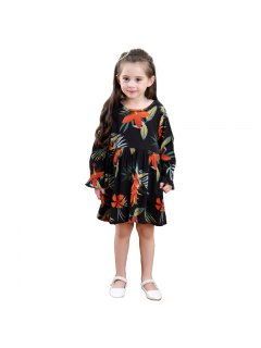 Girls Autumn Long Sleeve Cotton Print Dress Princess Skirt - Black 100